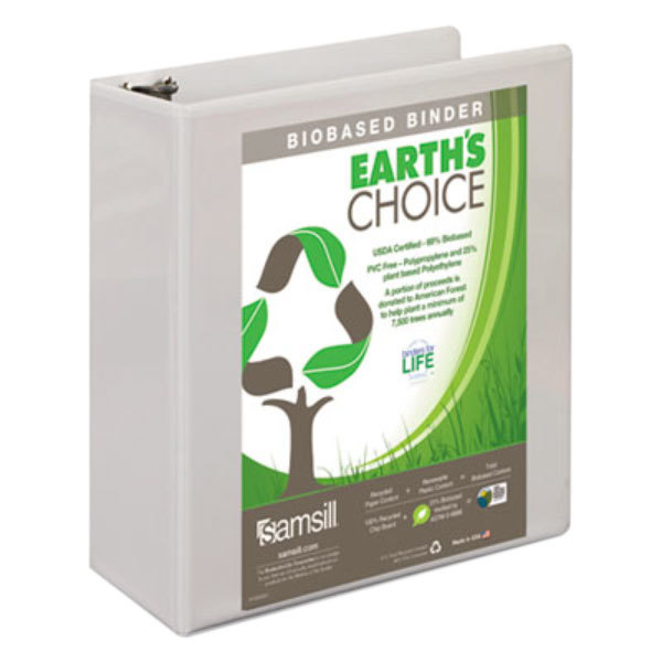 "Samsill 16987 Earth's Choice White Biobased View Binder with 3"" D Rings"