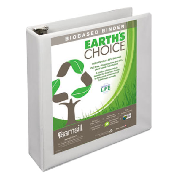 """Samsill 16967 Earth's Choice White Biobased View Binder with 2"""" D Rings"""