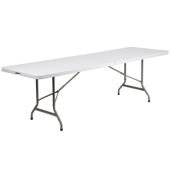 "Flash Furniture DAD-YCZ-244Z-GG 30"" x 96"" Rectangular Granite White Bi-Fold Plastic Folding Table"