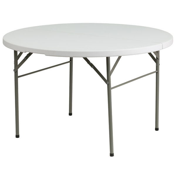 "Flash Furniture DAD-122RZ-GG 48"" Round Granite White Bi-Fold Plastic Folding Table"