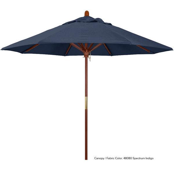 "California Umbrella MARE 908 SUNBRELLA 1A Grove 9' Round Push Lift Umbrella with 1 1/2"" Hardwood Pole - Sunbrella 1A Canopy"