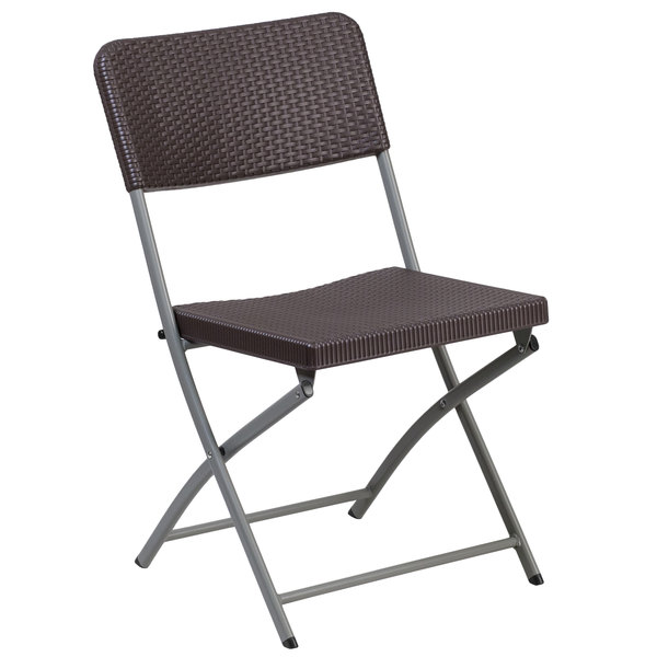 Flash Furniture DAD YCZ 61 GG Hercules Brown Rattan Plastic Folding Chair  With Gray Frame
