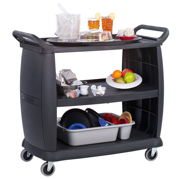 Carlisle CC224303 3 Shelf Oversized Black Utility Cart 300 lb. Capacity Main Image 3