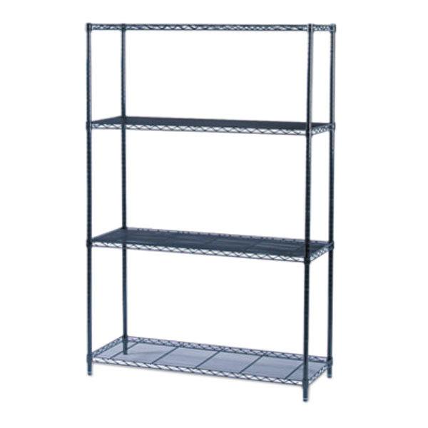safco 5291bl black 3 shelf industrial wire shelving kit. Black Bedroom Furniture Sets. Home Design Ideas