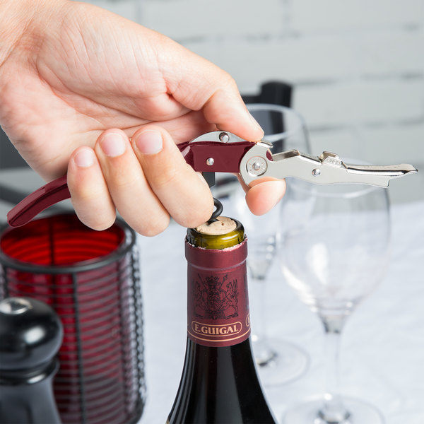 Franmara 5125-03 Pullparrot Waiter's Corkscrew with Burgundy Handle