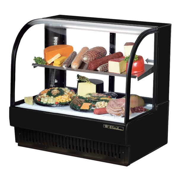 True TCGR-50-CD 50 inch Black Curved Glass Refrigerated Deli Case