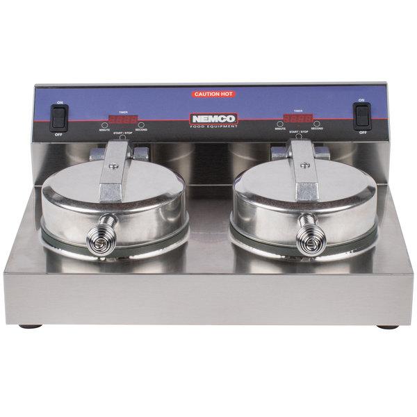 Nemco 7000A-2S SilverStone Non-Stick Dual Waffle Maker - 120V Main Image 1