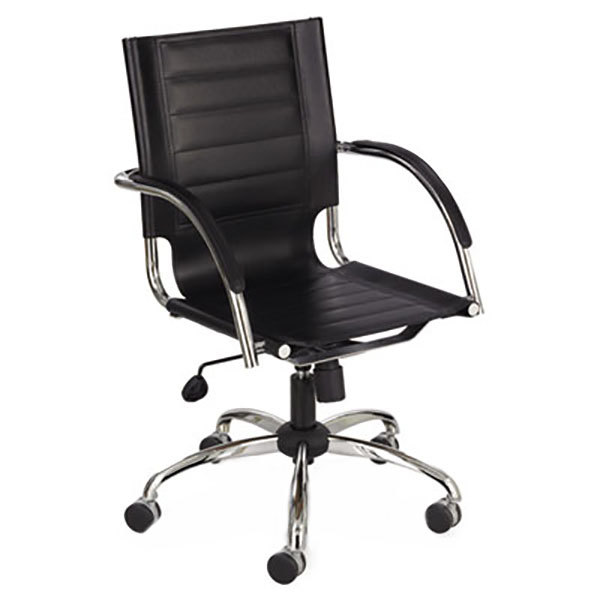 Safco 3456BL Flaunt Black Mid Back Leather Manageru0027s Chair With Arms And  Chrome Frame