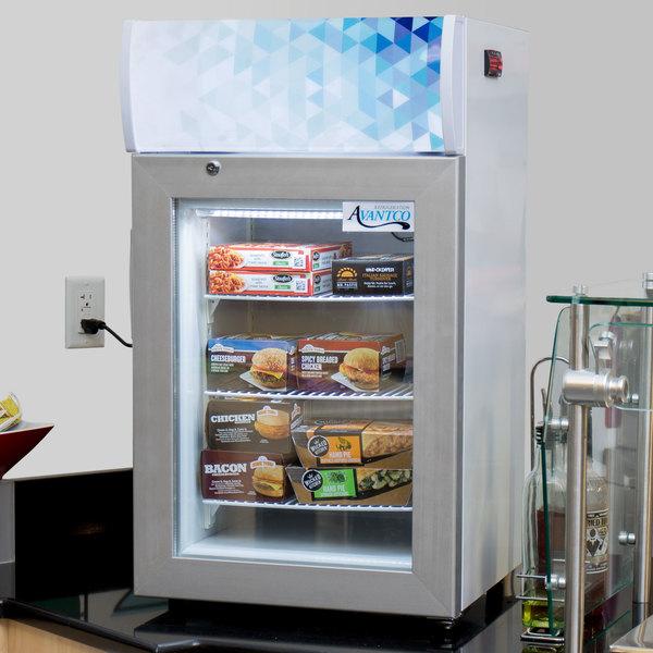 Avantco CFM2LB White Countertop Freezer with Swing Door and Top Lit Header