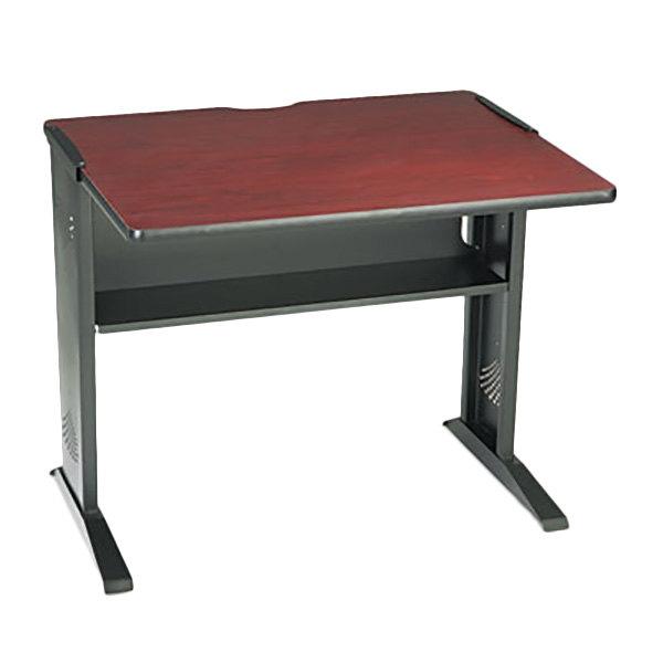 """Safco 1930 Mahogany / Medium Oak Computer Desk with Reversible Top - 35 1/2"""" x 28"""" x 30"""""""