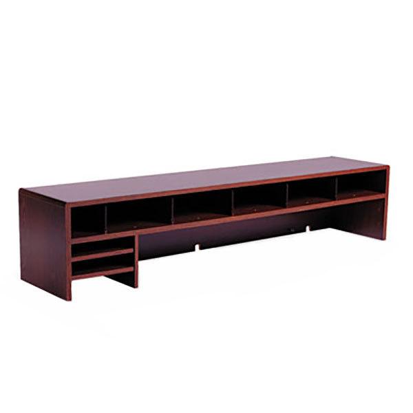 Safco mh low profile mahogany section desktop hutch