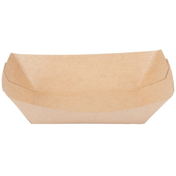 Bagcraft Papercon 300697 2 lb. EcoCraft Grease-Proof Natural Kraft Food Tray - 1000/Case