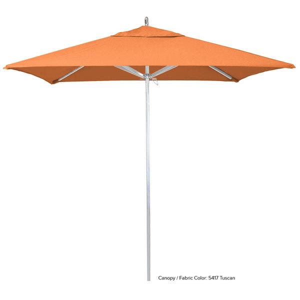 """California Umbrella AAT 75754 SUNBRELLA 2A Rodeo 7 1/2' Square Push Lift Umbrella with 1 1/2"""" Aluminum Pole - Sunbrella 2A Canopy"""