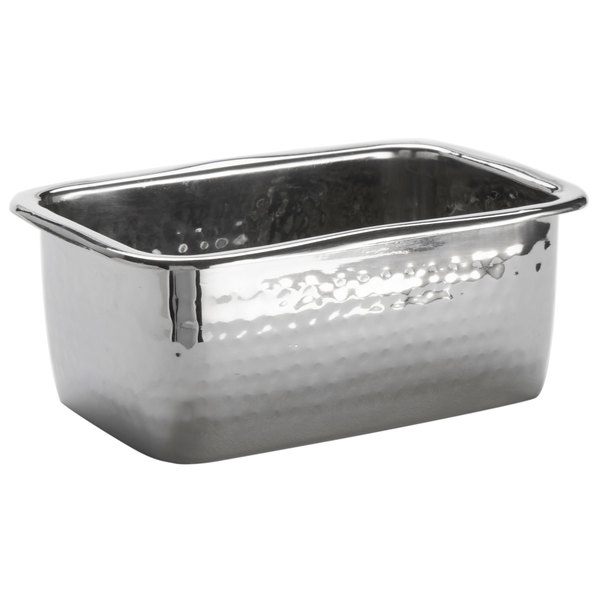 American Metalcraft HMBR 15 oz. Hammered Stainless Steel Rectangular Pan