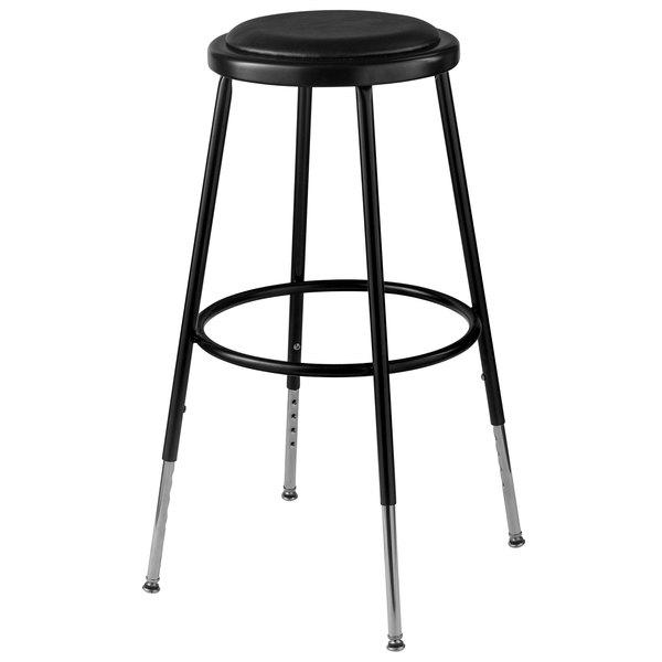 National Public Seating 6424h 10 25 33 Black Adjustable Round Padded Lab Stool
