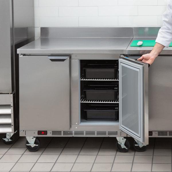 "Beverage-Air WTR36AHC-FIP 36"" Two Door Worktop Refrigerator with 4"" Foamed-In-Place Backsplash Main Image 5"