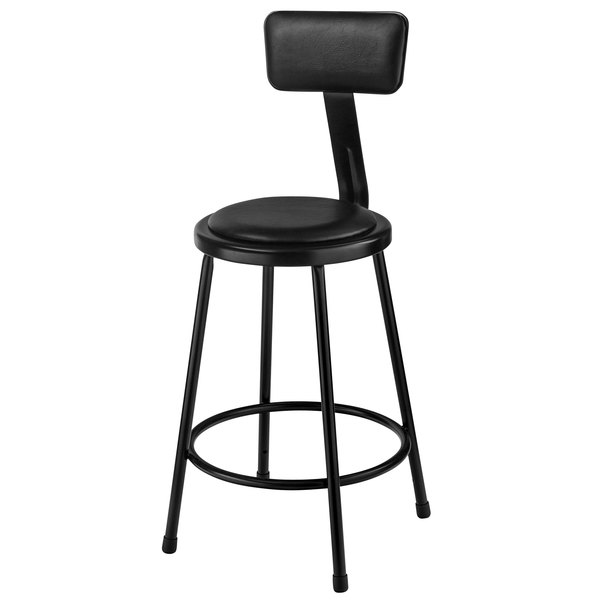"National Public Seating 6424B-10 24"" Black Round Padded Lab Stool with Adjustable Padded Backrest Main Image 1"