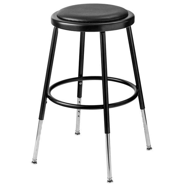 "National Public Seating 6418H-10 19"" - 27"" Black Adjustable Round Padded Lab Stool Main Image 1"
