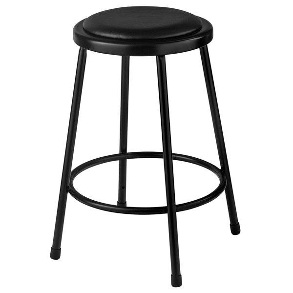 """National Public Seating 6424-10 24"""" Black Round Padded Lab Stool Main Image 1"""