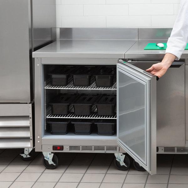 "Beverage-Air WTR27AHC-FIP 27"" One Door Worktop Refrigerator with 4"" Foamed-In-Place Backsplash Main Image 5"