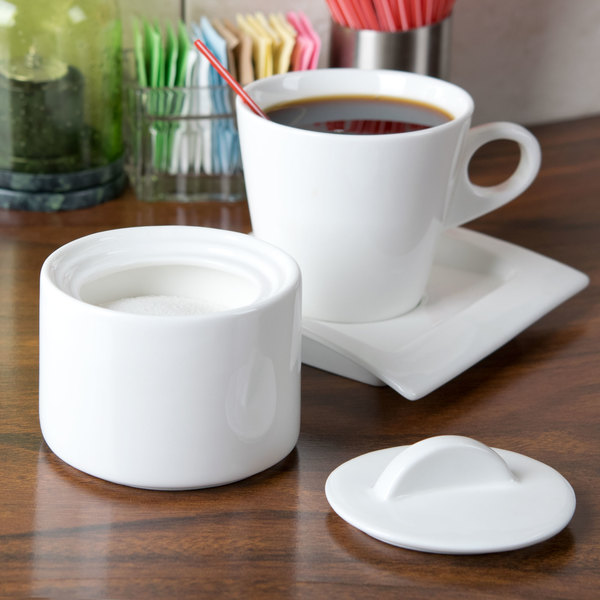 """Arcoroc G9902 Daring Porcelain Stackable Sugar Bowl and Lid 3 1/2"""" x 2 3/4"""" by Arc Cardinal - 16/Case"""