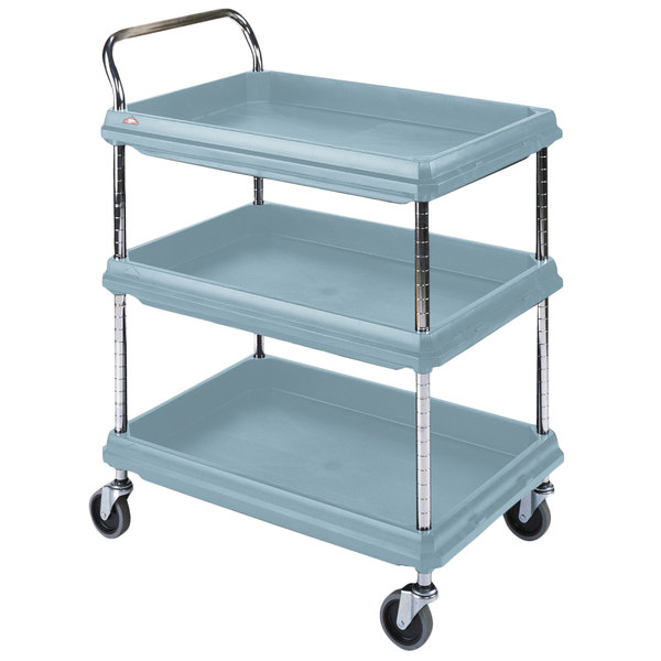 Metro BC2636 3DMB Slate Blue Utility Cart With Three Deep Ledge Shelves And  Microban Protection   27