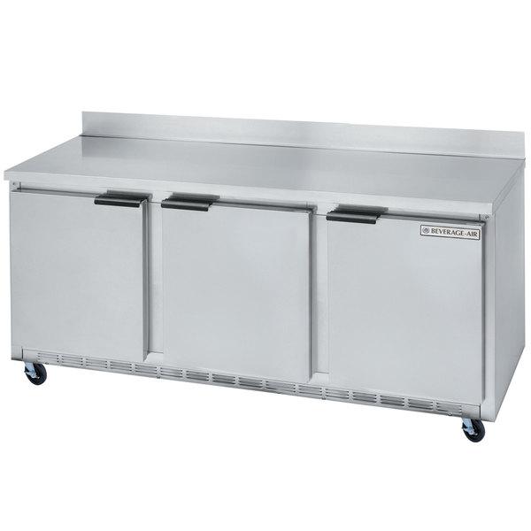 "Beverage-Air WTR72AHC-FIP 72"" Three Door Worktop Refrigerator with 4"" Foamed-In-Place Backsplash Main Image 1"