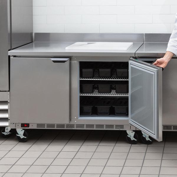 "Beverage-Air WTR48AHC-FIP 48"" Two Door Worktop Refrigerator with 4"" Foamed-In-Place Backsplash Main Image 6"