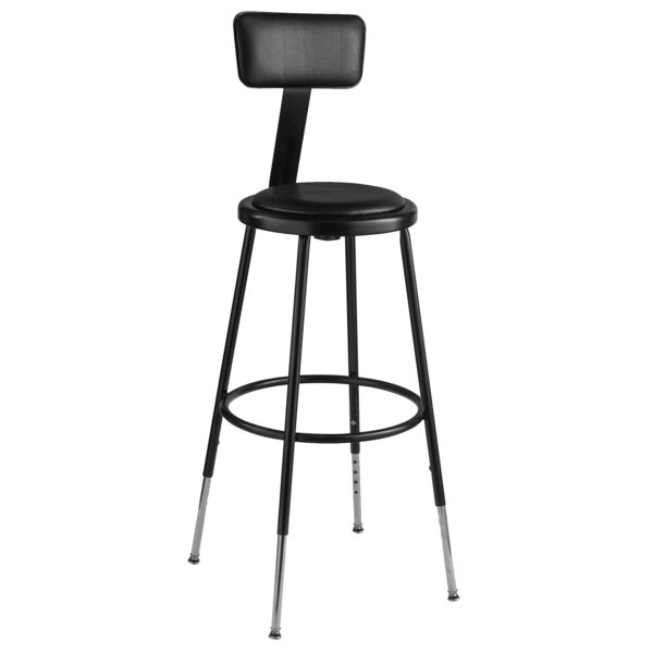 Cool National Public Seating 6424Hb 10 25 33 Black Adjustable Round Padded Lab Stool With Adjustable Padded Backrest Ibusinesslaw Wood Chair Design Ideas Ibusinesslaworg