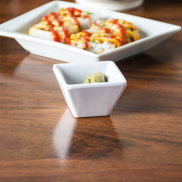 American Metalcraft MELSC15 1.1 oz. White Melamine Square Sauce Cup - 12/Pack