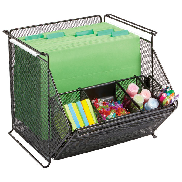 """Safco 2164BL 14"""" x 15 1/2"""" x 11 3/4"""" Onyx Black 4 Section Stackable Mesh Storage Bin"""