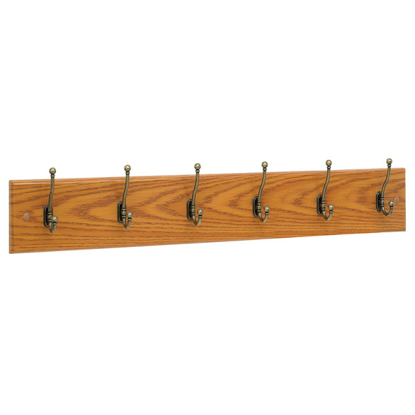 "Safco 4217MO 35 1/2"" Medium Oak Wood Wall Rack with 6 Double-Hooks"