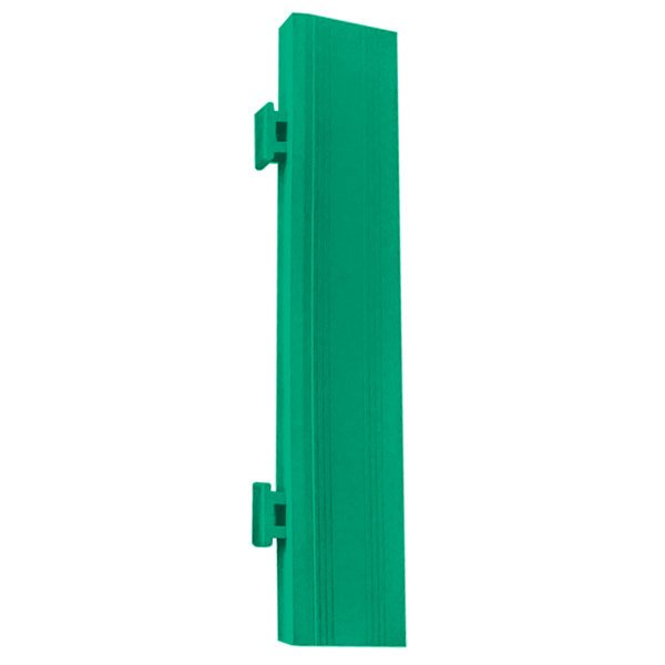 "Cactus Mat 2557-GMCR Poly-Lok 2 1/2"" x 14"" Green Vinyl Interlocking Drainage Floor Tile Corner Ramp with Male End - 3/4"" Thick Main Image 1"