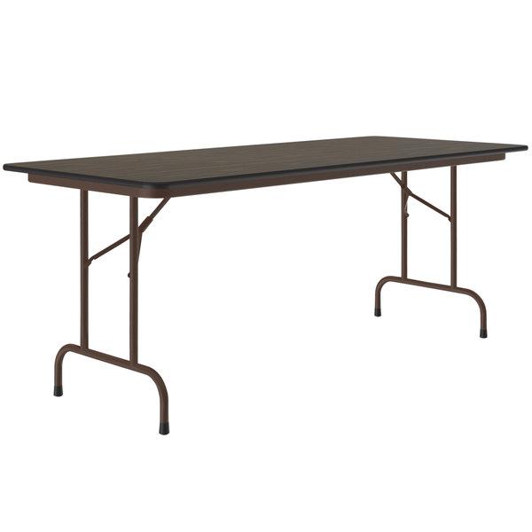 Correll Folding Table 30 X 96 Melamine Top Walnut Cf3096m01