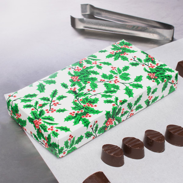 "7 3/8"" x 4"" x 1 1/8"" 2-Piece 1/2 lb. Holly / Holiday Candy Box - 125/Case Main Image 5"