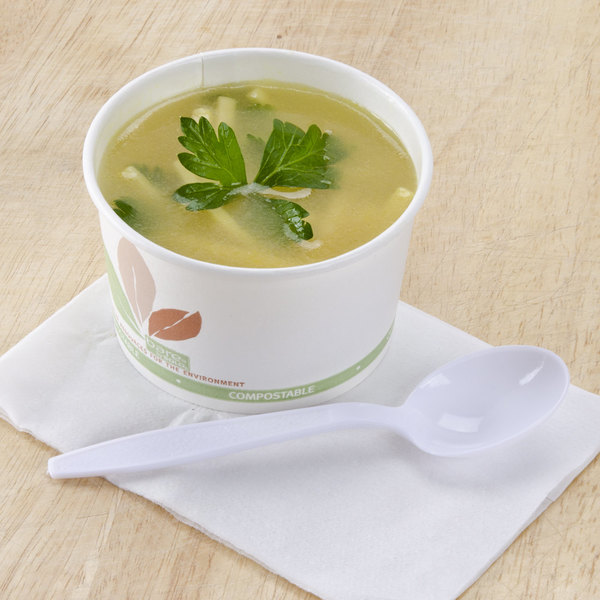 Bare by Solo V508PL-JF522 Leaf Print 8 oz. Eco-Forward Paper Soup / Hot Food Cup - 1000/Case Main Image 2