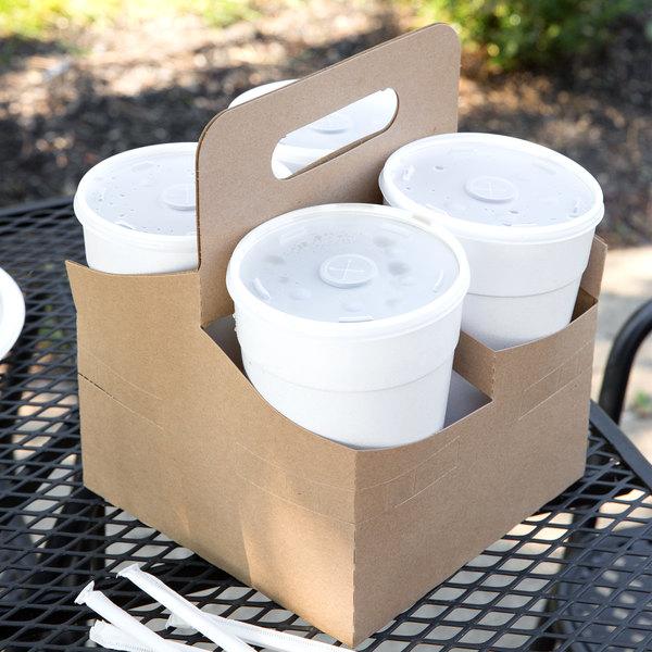 4 Cup Kraft Pop-Up 44 oz. Drink Carrier - 50/Pack Main Image 5