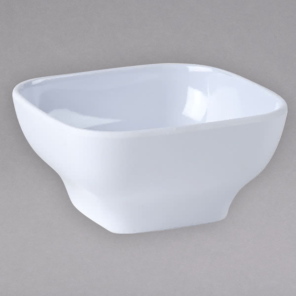 """Thunder Group PS3106W 5 1/2"""" x 5 1/2"""" Passion White Square 20 oz. Melamine Bowl with Round Edges - 12/Pack"""