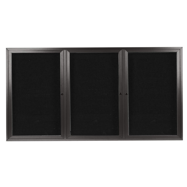 aarco oadc4896 3ba 48 x 96 enclosed hinged locking 3 door bronze anodized aluminum outdoor directory board with black letter board