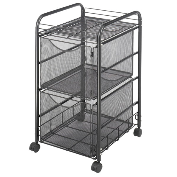 "Safco 5212BL Onyx Black Mesh Mobile Double File Cube with Shelf - 15 3/4"" x 17"" x 27"""