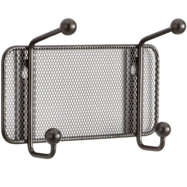 Safco 6401BL Onyx Steel Mesh Two-Peg Coat Hook / Wall Rack