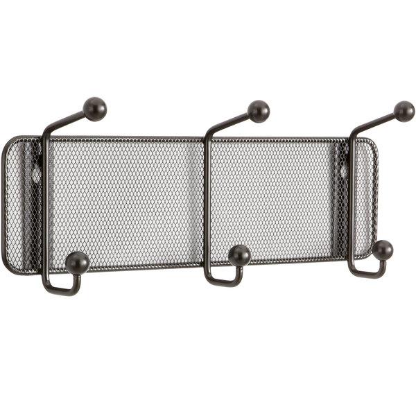 Safco 6402BL Onyx Steel Mesh Three-Peg Coat Hook / Wall Rack Main Image 1