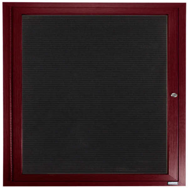 """Aarco OADCW3636R 36"""" x 36"""" Enclosed Hinged Locking 1 Door Aluminum with Powder Coated Cherry Finish Outdoor Directory Board with Black Vinyl Letter Board"""