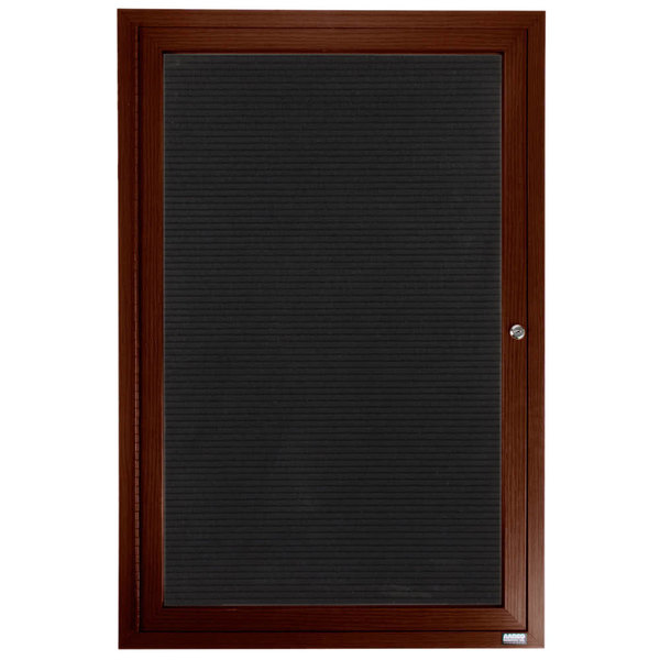 """Aarco OADCWW4836R 48"""" x 36"""" Enclosed Hinged Locking 1 Door Aluminum with Powder Coated Walnut Finish Outdoor Directory Board with Black Vinyl Letter Board"""