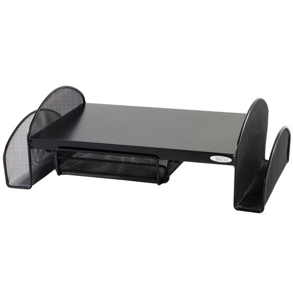 Safco 2159BL Onyx Black Mesh Steel Monitor Stand and Organizer