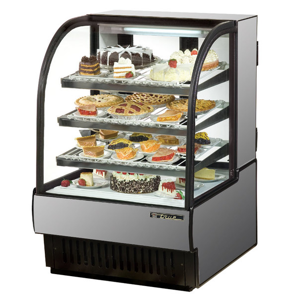 True TCGR-36 36 inch Stainless Steel Curved Glass Refrigerated Bakery Display Case - 19 Cu. Ft.
