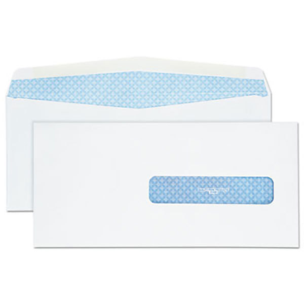 """Quality Park 21438 #10 1/2 4 1/2"""" x 9 1/2"""" White Health Form Security Tinted Envelope with Window and Redi Seal - 500/Box Main Image 1"""