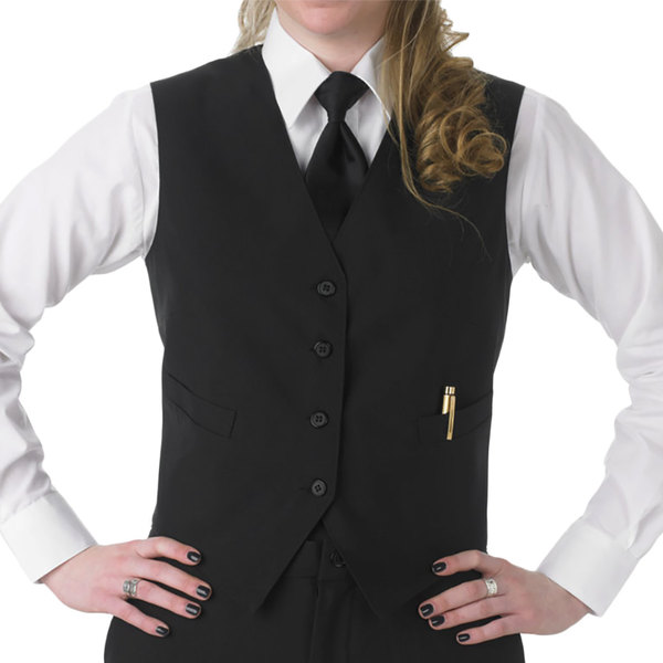 Henry Segal Women's Customizable Black Basic Server Vest - L Main Image 1
