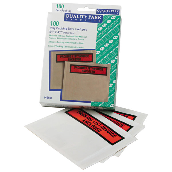 """Quality Park 46894 4 1/2"""" x 5 1/2"""" Clear / Orange Top Print Packing List Envelope with Window and Self Adhesive Seal - 100/Box Main Image 1"""