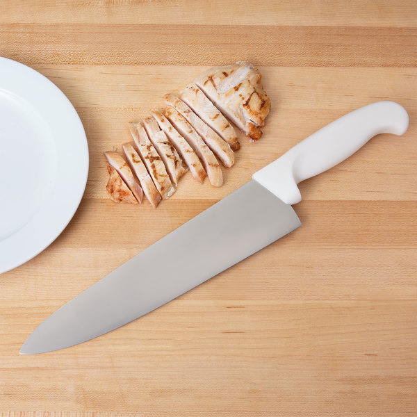 """White Kitchen Knives: 10"""" Chef Knife With White Handle"""
